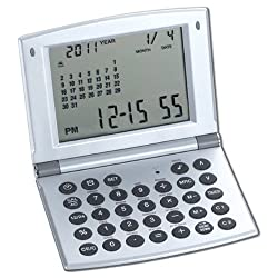 Natico Multifunctional World time Clock, Calendar and Calculator (10-WT208), silver
