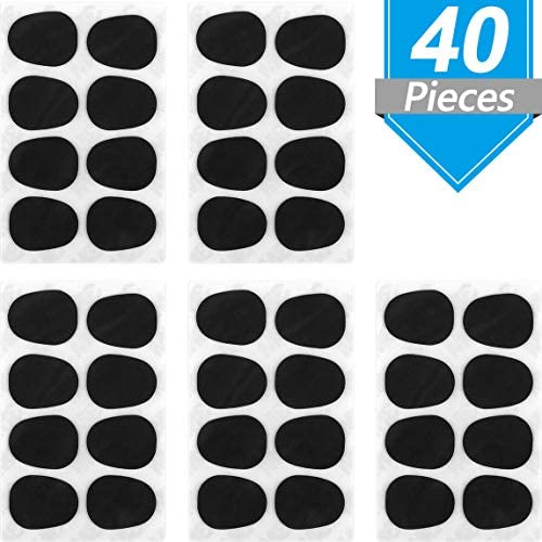 Onown 40 Pieces Alto/Tenor Saxophone and Clarinet Mouthpiece Cushion Food-Grade Sax Mouthpiece Patches Pads Cushions 0.8 mm Thick Rubber Strong Adhesive