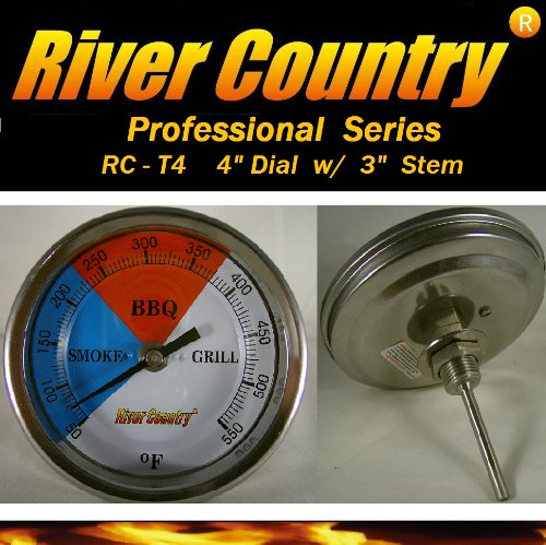 4″ dial River Country Adjustable BBQ, Grill, Smoker Thermometer (50 to 550 F)