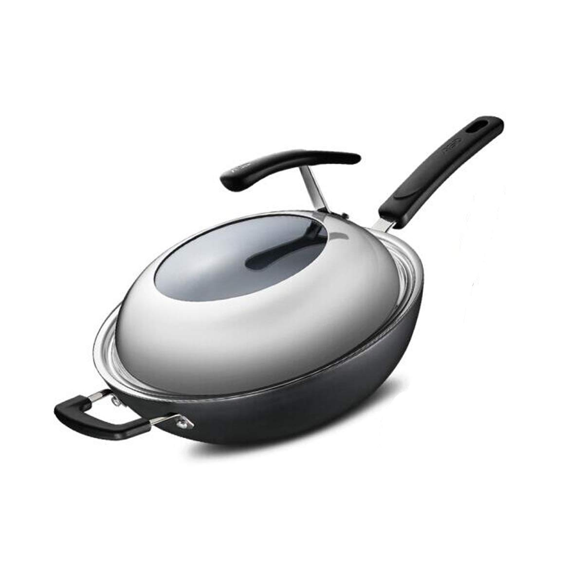 Wok, 32CM Cast Iron Pot, Rust Can Not Be Wok, Uncoated Wok, Induction Cooker Wok, Black (Color : Black, Size : A1-32CM)