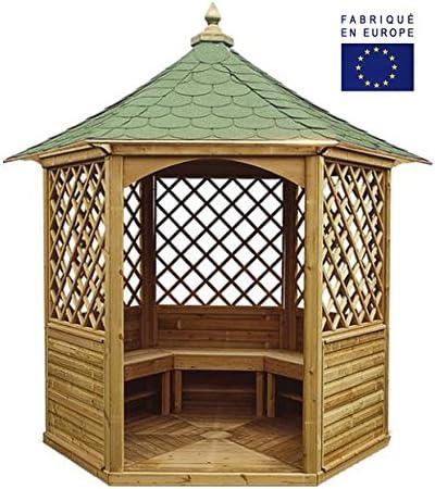 habrita – habrita – Gazebo de jardín hexagonal (techo en tejas – 4,74 M²: Amazon.es: Bricolaje y herramientas