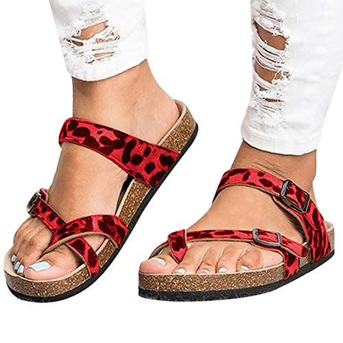 (Gibobby Platform Sandals Espadrille Women's Pacific High Tide Toepost Sandals - Ladies Platform Flip Flops with Orthotic Arch Support Red )