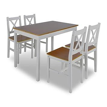 vidaXL Mesa de madera con 4 sillas de madera Set de muebles Marrón