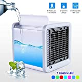 Simfonio Personal Air Cooler Fan, Portable Air Conditioner, Humidifier, Purifier 3 in 1 Evaporative Cooler, Mini AC USB Cooling Desktop Fan with 7 Colors LED Lights for Bedroom, Travel, Office