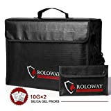 ROLOWAY Large (17'x12'x5.8') Fireproof Bag, Upgraded XL Fireproof Document Bags with Bonus Bag & Locking Zipper, Fireproof Safe and Water Resistant Bag for Money, Legal Documents, Files, Valuables