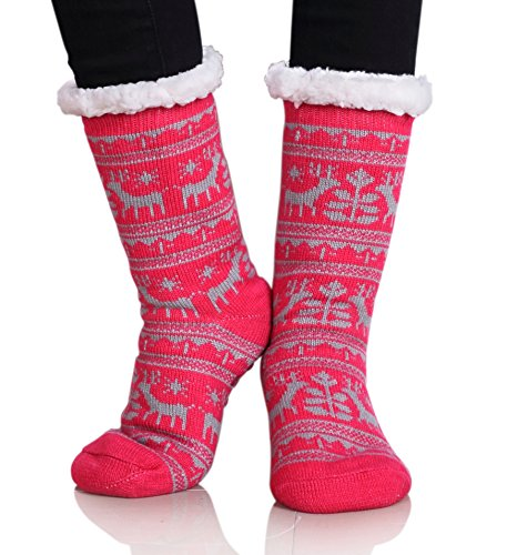 Dosoni Women Fuzzy Slipper Socks Winter Soft Warm Fleece Lining Christmas Gift Socks Dear Gray Red (Present Your Girlfriend For Best Christmas)