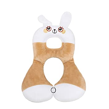 Soft Baby Safety U-shaped Pillow With Protective Cover Car Seat Stroller Pillow Cartoon Short Plush Infant Head Neck Support Mother & Kids Activity & Gear