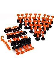KAHEIGN Tegel nivellering System Kit, 100 stuks herbruikbare tegelnivellers Spacers voor bouwmuren vloeren + speciale moersleutel