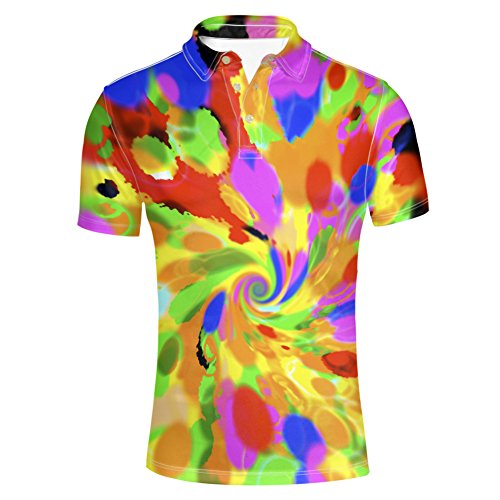 (HUGS IDEA Colorful Men's Polos Shirts Spiral Tie Dye T-Shirt Novelty Fashion Hipster Hip Hop Tee)
