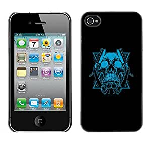 Be Good Phone Accessory // Dura Cáscara cubierta Protectora Caso Carcasa Funda de Protección para Apple Iphone 4 / 4S // Blue Skull & Blades