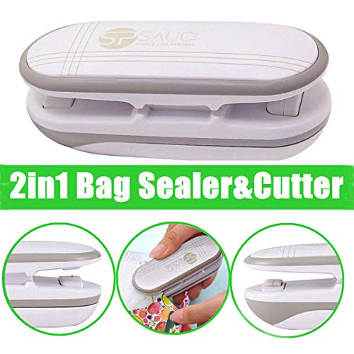 Mini Bag Sealer, Ariskey 2 in 1 Heat Sealer and Cutter Handheld Portable Bag Resealer Sealer for Plastic Bags Food Storage Snack Fresh Bag Sealer or Chip Saver (Battery Not Included)-White ()