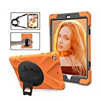 Adromy New iPad 9.7 2018/2017 Case, iPad 6th / 5th Generation Cases Cover for Kids 360 Degree Rotatable Kickstand, Hand Strap & Shoulder Strap Shockproof Rugged Case for iPad 9.7 Inch (Orange)
