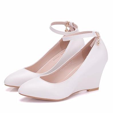 Damenschuhe 9 cm Feine Spitze Hochzeit Schuhe Sexy, 34 Hingewiesen, Weiß LEIT
