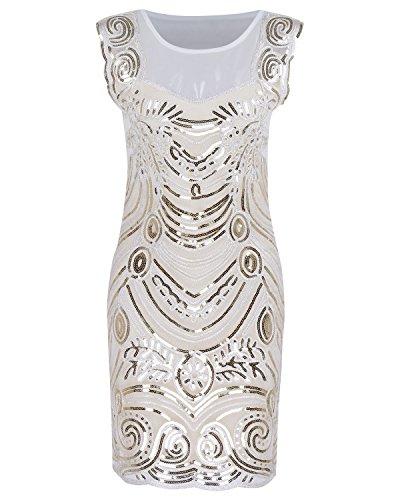 Impreziosito Cocktail Aecibzo Gatsby Annata Da Paillettes Vestito Flapper 1920 Beige Ispirata TwgXxq7w