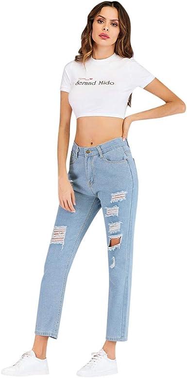 Xbeast Pantalones Vaqueros De Fantasia Para Mujer Con Bolsillos De Vaquero Rotos Longitud Del Tobillo Color Azul Claro Bule S Amazon Es Ropa Y Accesorios