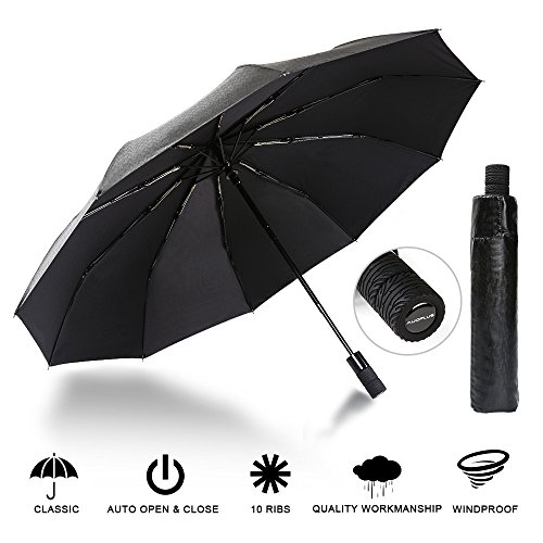 AUOPLUS Compact Travel Umbrella Windproof Large Reinforced Canopy Automatic Folding with 10 Ribs, UV Protection, Auto Open Close For Sale