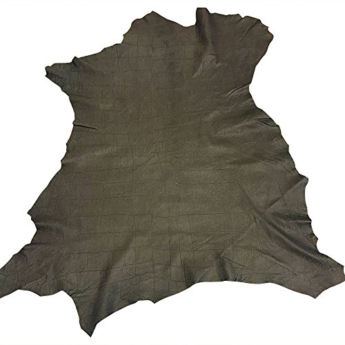 Quality Green Leather Skin - Spanish Full Skin - Crocodile Embossed - 6 sq ft - 1 oz avg Thickness - DIY Material - Genuine Soft Lambskin - Soft Thin Upholstery Fabric - Small Craft Projects