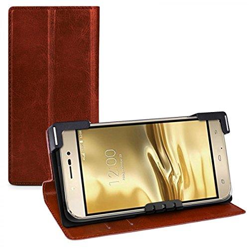 eFabrik Tasche für UMI Rome 4G 5.5 Zoll Schutz Hülle Case Cover Handyhülle Schutztasche Schutzhülle Etui Leder-Optik braun