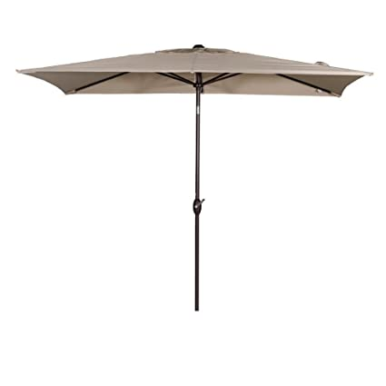 abba patio rectangular patio umbrella outdoor market table umbrella with push button tilt and crank - Amazon Patio Umbrella