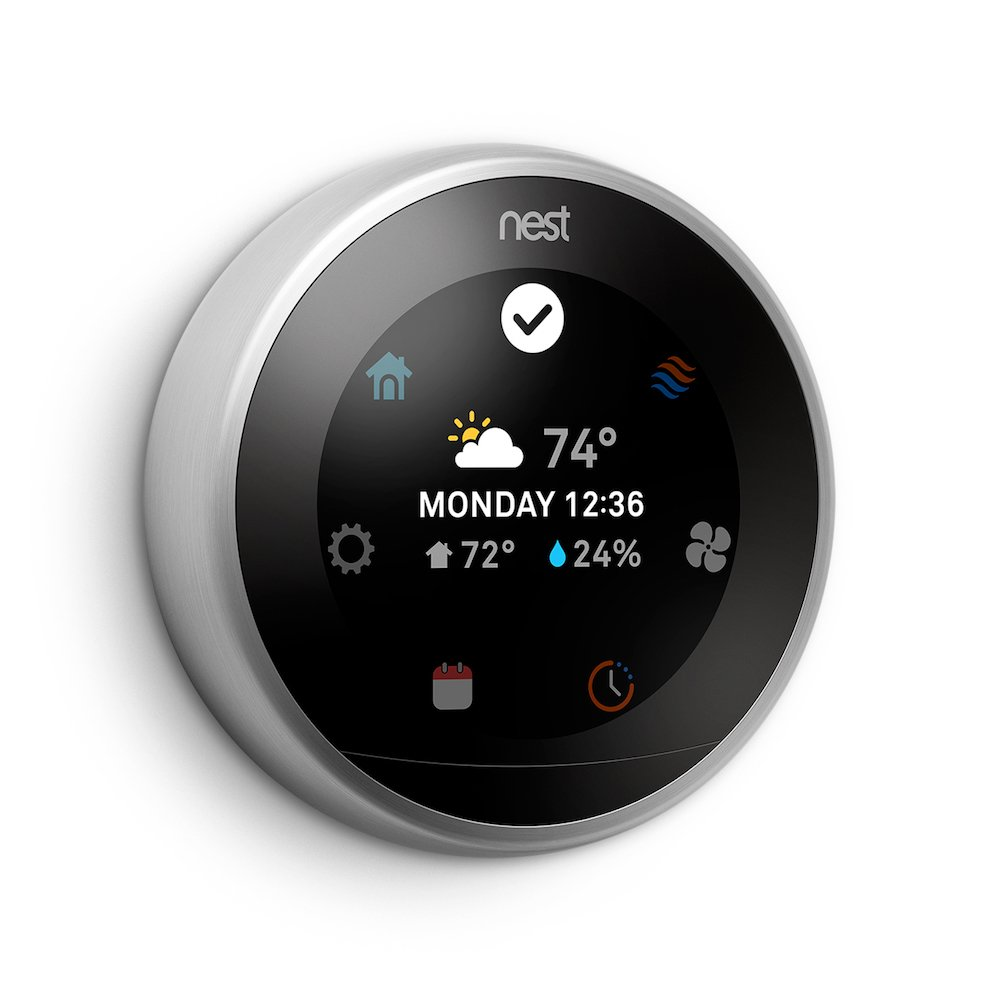 Nest Learning Thermostat, Easy Temperature Control for Every Room in Your House, Stainless Steel (Third Generation)