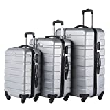 Coolife Luggage 3 Piece Set Spinner Trolley Suitcase Hard Shell Lightweight Carried On Trunk 20inch 24inch 28inch(silver grey)