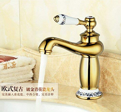 JingJingnet シンクミキサータップ浴室キッチン盆地水道漏れ防止保存水ゴールドアンティークタイル混合ホットとコールドウォーターシン (Color : A) B07RYW81TF A