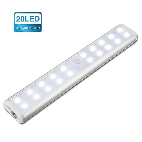 KINGSO 20 LED Motion Sensor Closet Light Wireless Pir Rechargeable ...