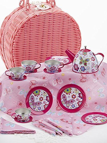 Delton Products Tin Tea Set with Real Pouring Teapot in Wicker Basket, Non-Breakable Dishes