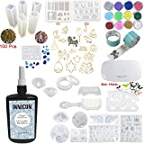 INNICON 250g Resin Casting Molds Kit 22 Silicone Resin Snowflake Comb Angel Wings Crown Molds 12 Glitter Sequins 14x Open Back Bezels Traceless Tape with Lamp For DIY Charms Necklaces Earrings Making