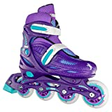 Crazy Skates Adjustable Inline Skates for Girls - Beginner Kids Rollerblades - Purple with Teal (Small/Sizes j11-1)