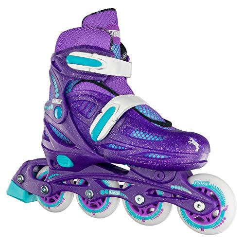 Crazy Skates Adjustable Inline Skates for Girls - Beginner Kids Rollerblades - Purple with Teal (Medium/Sizes 2-5)