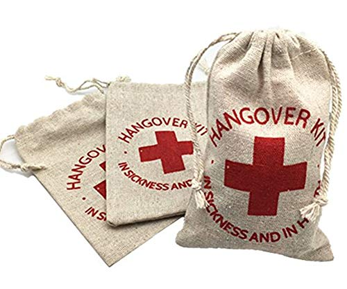 OZXCHIXU 20pcs Muslin Wedding Party Favor Bags 4x6 inch RED GLITTER CROSS Bachelorette Hangover , Recovery , Survival Kit Bags and Drawstring Bag by OZXCHIXU