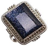 StarGems(tm) Natural Sun Sitara Handmade Unique 925 Sterling Silver Ring, US size 7.25