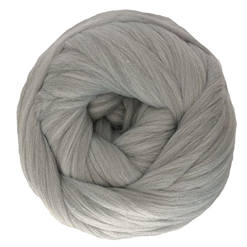 Zituop Super Chunky Yarn Merino Wool Alaternative Bulky Roving for Arm Knitting Blanket, 500g-1.1lb (Light Grey)
