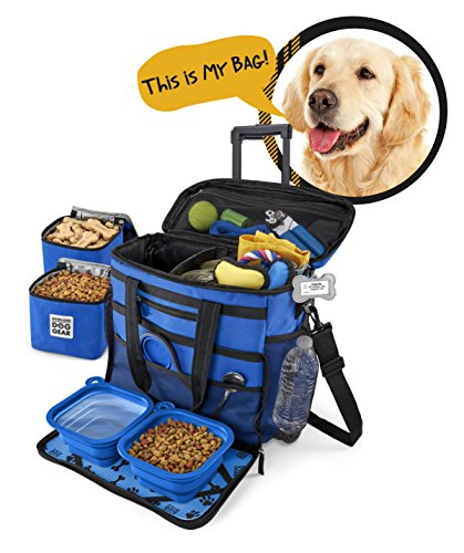 Rolling Dog Travel Bag - Week Away Tote With Wheels For Med And Large Dogs (Blue)