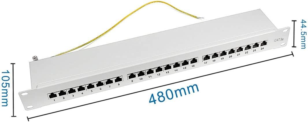 NA 24-inch RJ45 Cat5E Wall Mount Surface-Mounted Patch Panel and 24-Port Shielded