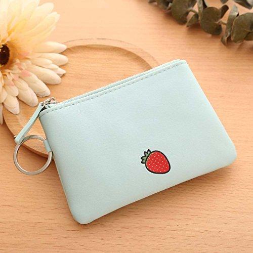 LtrottedJ Women Simple Short Wallet,Fruit Zipper Coin Purse Card Holders Handbag (Green)