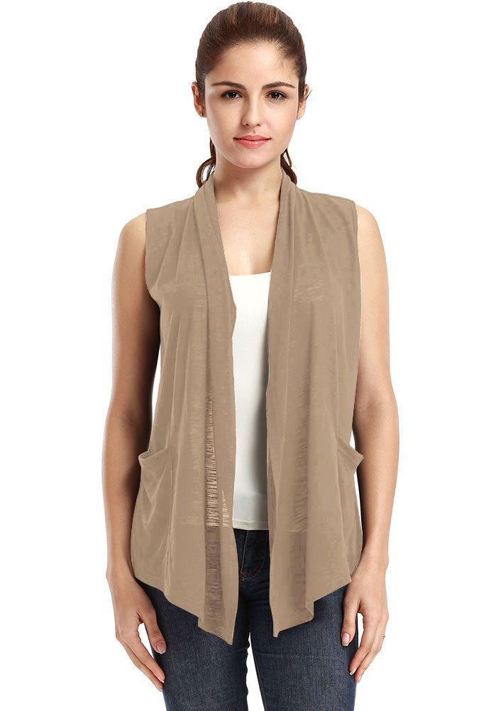 VESSOS Women's Pockets Solid Color Sleeveless Asymetric Hem Open Front Vest Cardigan