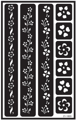 Armour Etch Over N Over Stencil, Floral - Border Stencil Flower