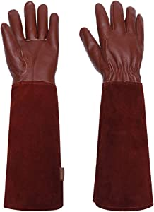 Gardening Gloves for Women/Men- Alomidds Rose Pruning Thorn & Cut Proof Elbow Length Durable Cowhide Leather Garden Work Gloves for Pruning Cacti Rose and Thorny Bushes (S, Brown)