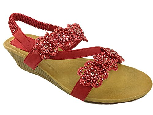 Cushion 3 Shoe Wedge Size Red Strappy Slingback Flower Peep UK 5 Summer Ladies 8 Low Walk Toe Sandals Rita 5Aw6p6