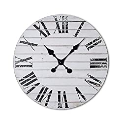 Dujawu Products Rustic White Wall Clock - Shiplap - Distressed Roman Numerals - Farmhouse Decor - Home/Office Clock - 16 inches - Living Room Kitchen Wall Decor - Silent Tick - Vintage Clock