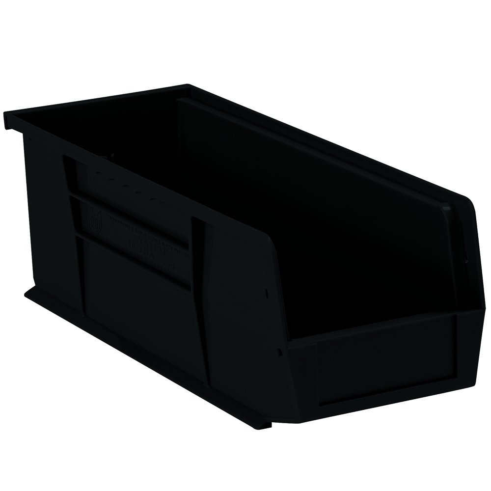 Aviditi BINP1555K Plastic Stack and Hang Bin Boxes, 14 3/4'' x 5 1/2'' x 5'', Black (Pack of 12)