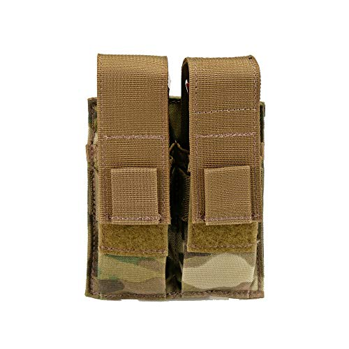 Double Pistol Magazine Pouch, Nylon, MOLLE Compatible, Hand-Gun Mag Holder Suitable for Both Single and Double Stack (17,19, 43, 45, 21, 1911) Multitool, Flashlight and Folding Knife (Multicam)