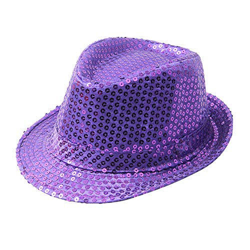 HYIRI Sequin Jazz Hat Stage Performance Variy Styles Cap Sequin Hat Festive Decoration Hat Purple (C-note Wallet Fox)