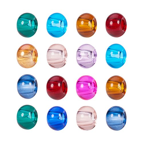 Pandahall 100PCS 15x10mm Mixed Color Rondelle Glass Large Hole European Beads, No Metal ()