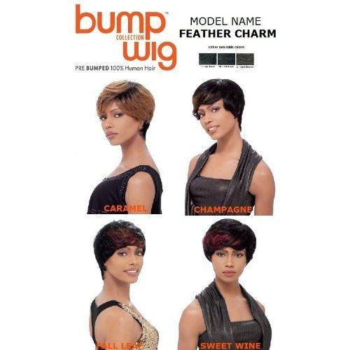 Sensationnel Bump Human Hair Wig - FEATHER CHARM (1 - JET BLACK) -