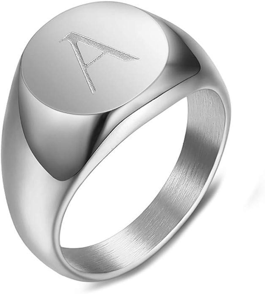 BOBIJOO Jewelry Chevali/ère Bague Femme Initiale Grav/ée au Choix Acier Inoxydable Argent/é 10mm