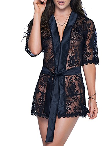 Svuencio Womens Sexy Lace Robe Sheer Satin Lingerie Short Sleeves Loungewear Sleepwear Nightgowns