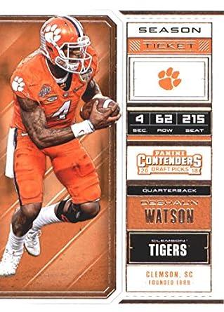 dfaa31a32fe 2018 Panini Contenders Draft Picks Season Ticket #33 Deshaun Watson Clemson  Tigers Football Card